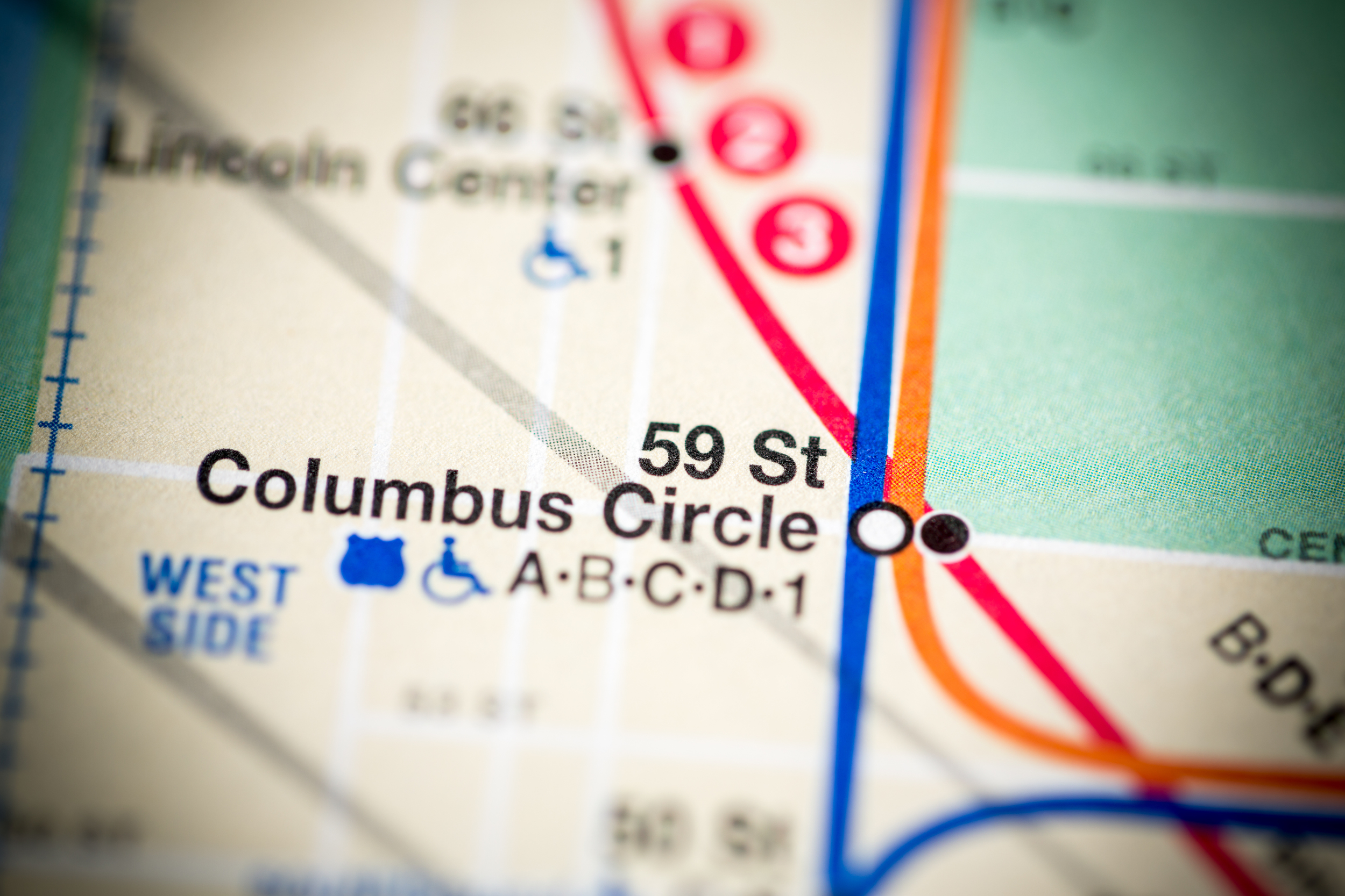 subway map of columbus circle