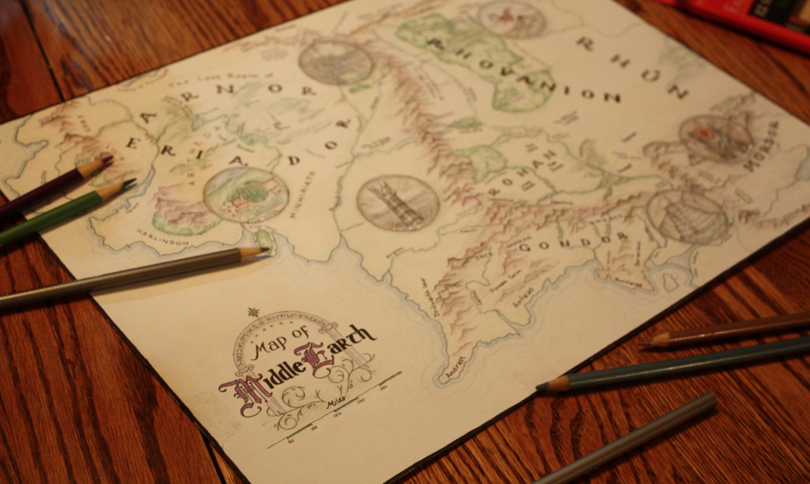 Map of Middle Earth: Colored Pencil & Ink