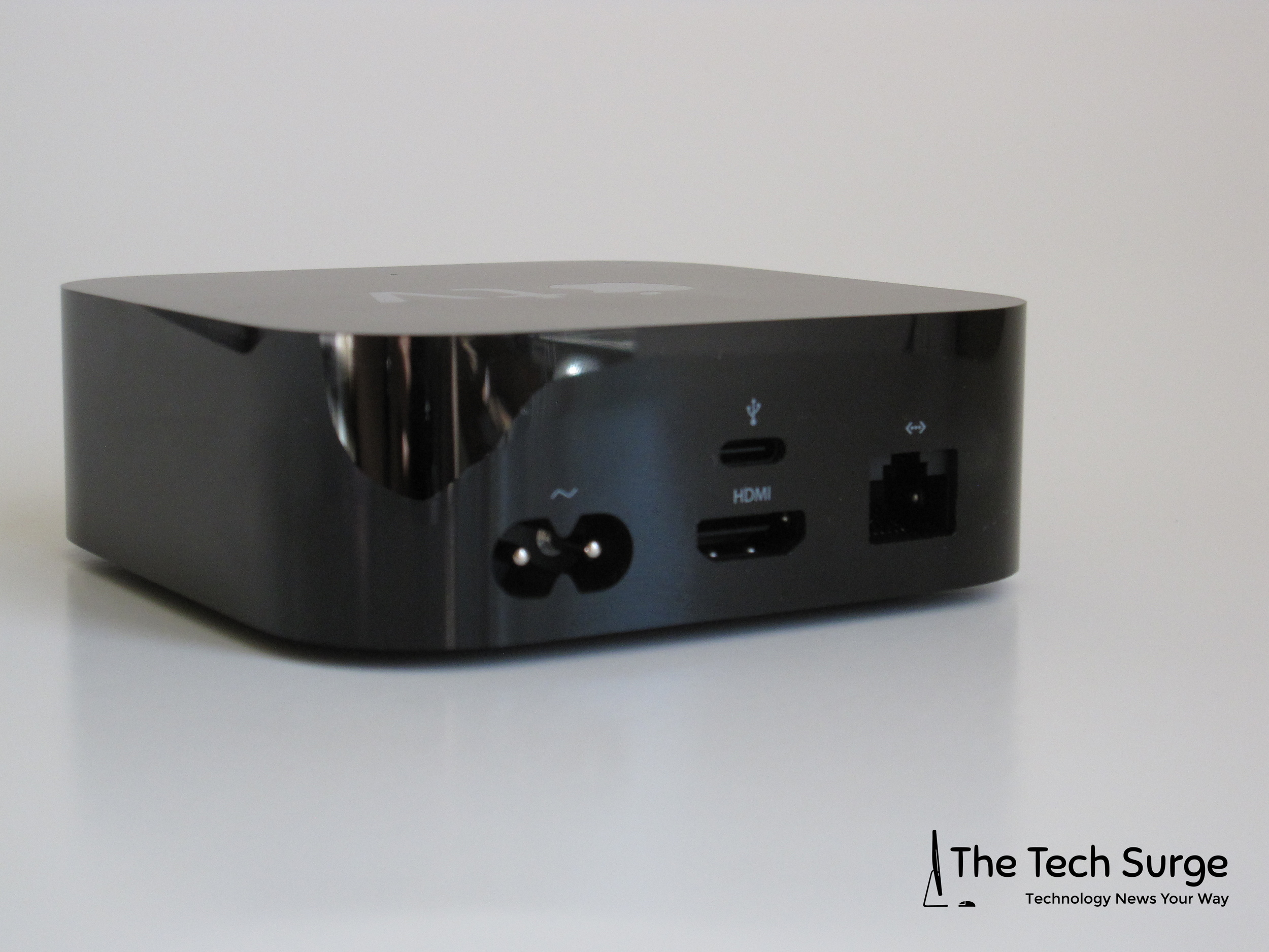 On the back of the box-top you will find a AC plug-in, Ethernet connection, HDMI connection, and a USB-C port (service only).