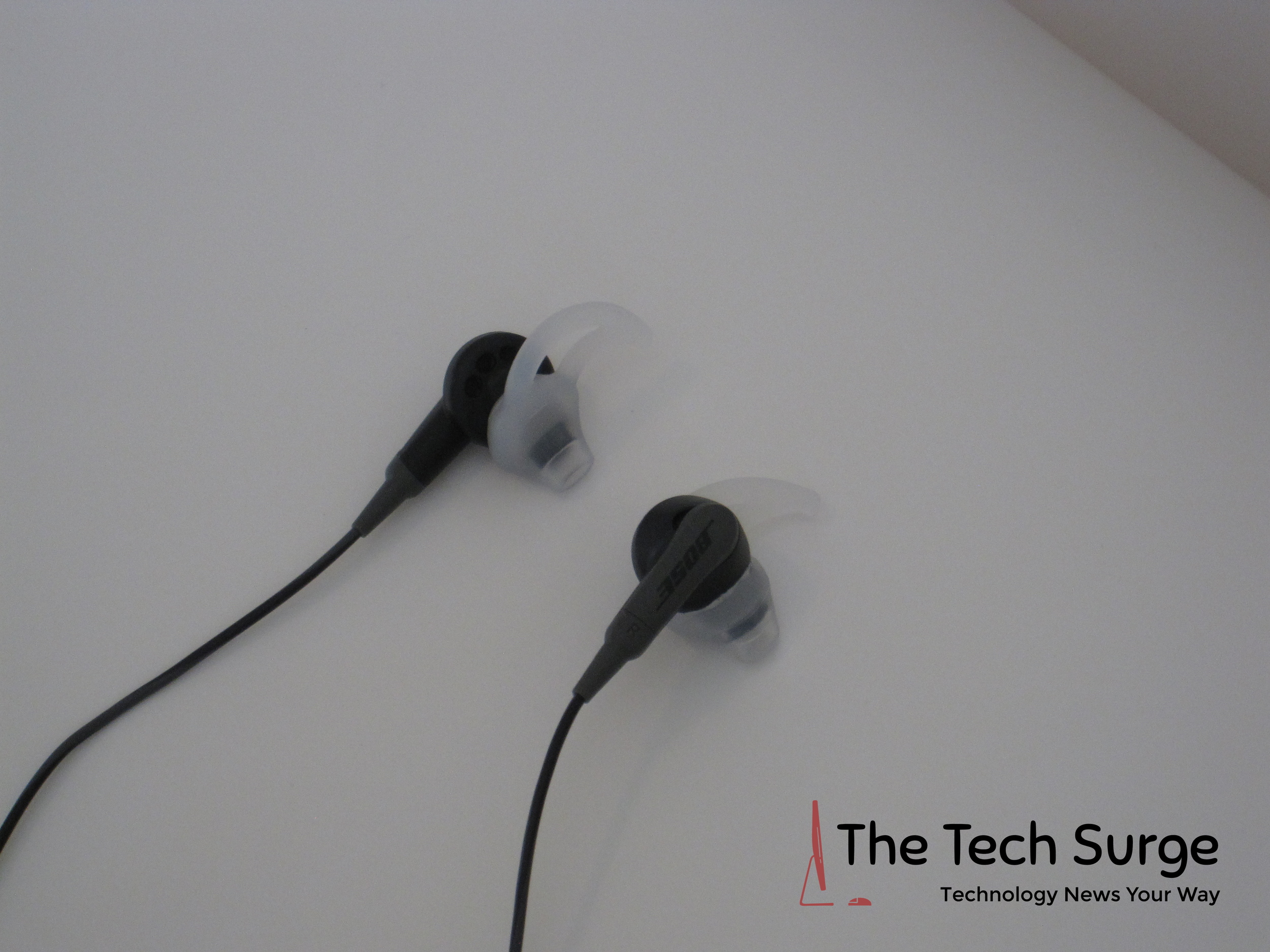 Here are the earbuds on a flat surface.