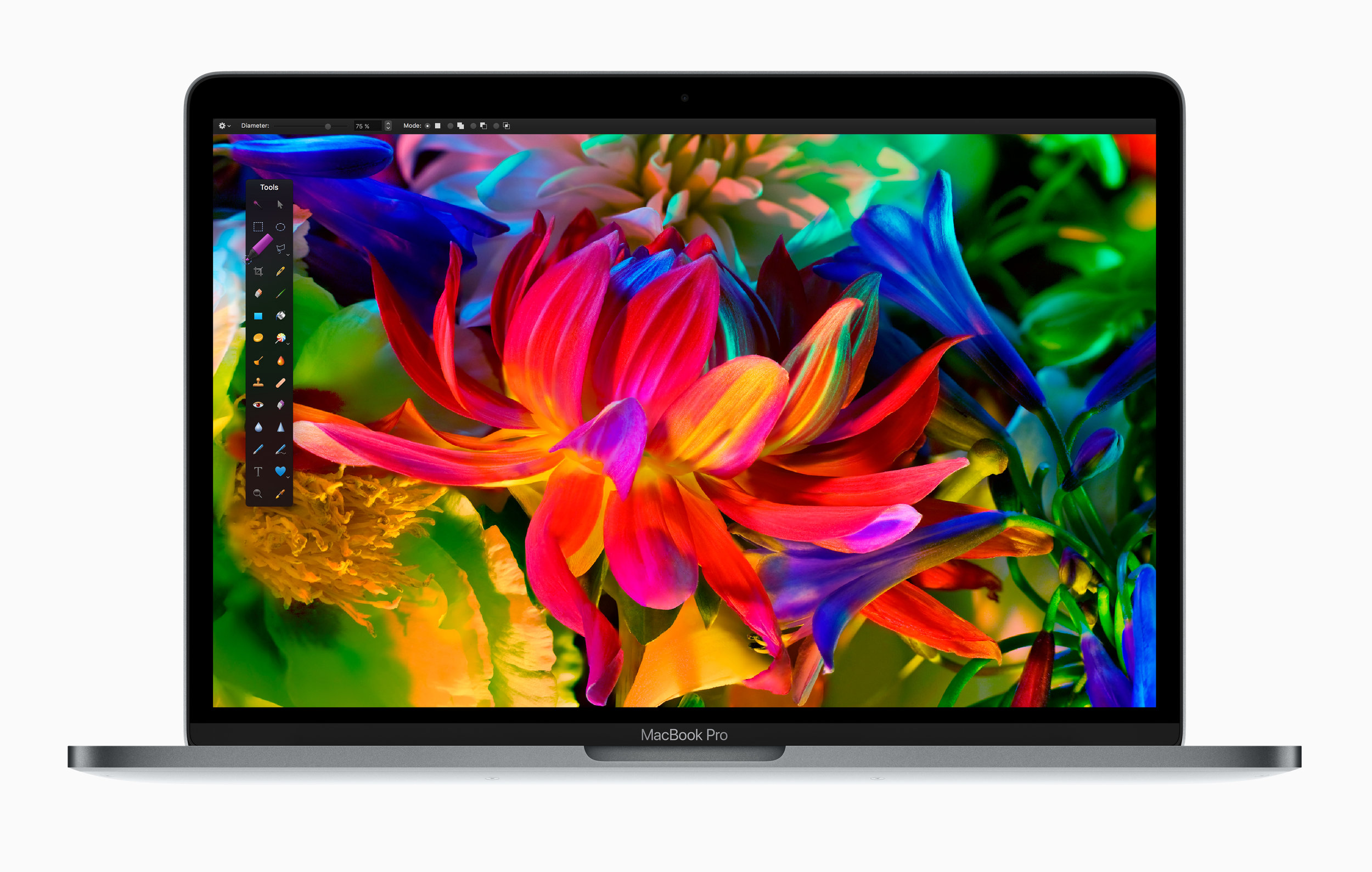 A look at the new display on the new MacBook Pro.   Source: Apple