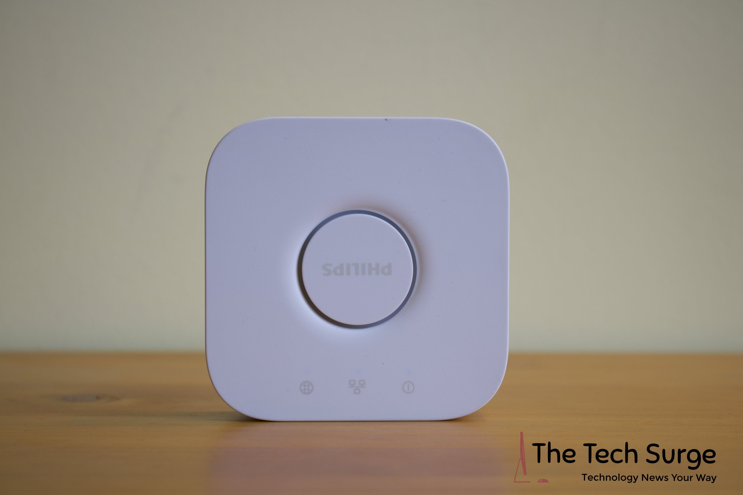 A closer look at the proprietary Philips Hue Bridge that connects your new smart lights to your home Wi-Fi network for easy control.