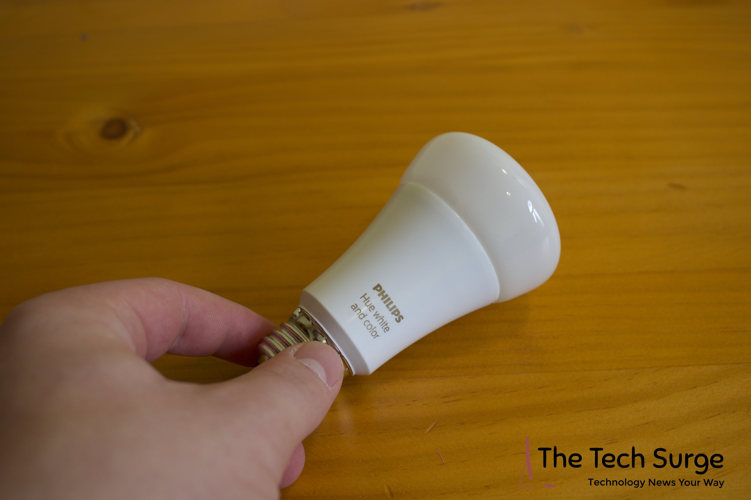A close up of the actual White and Color Philips Hue lightbulb. The smart light's footprint is similar to that of a regular LED light bulb.