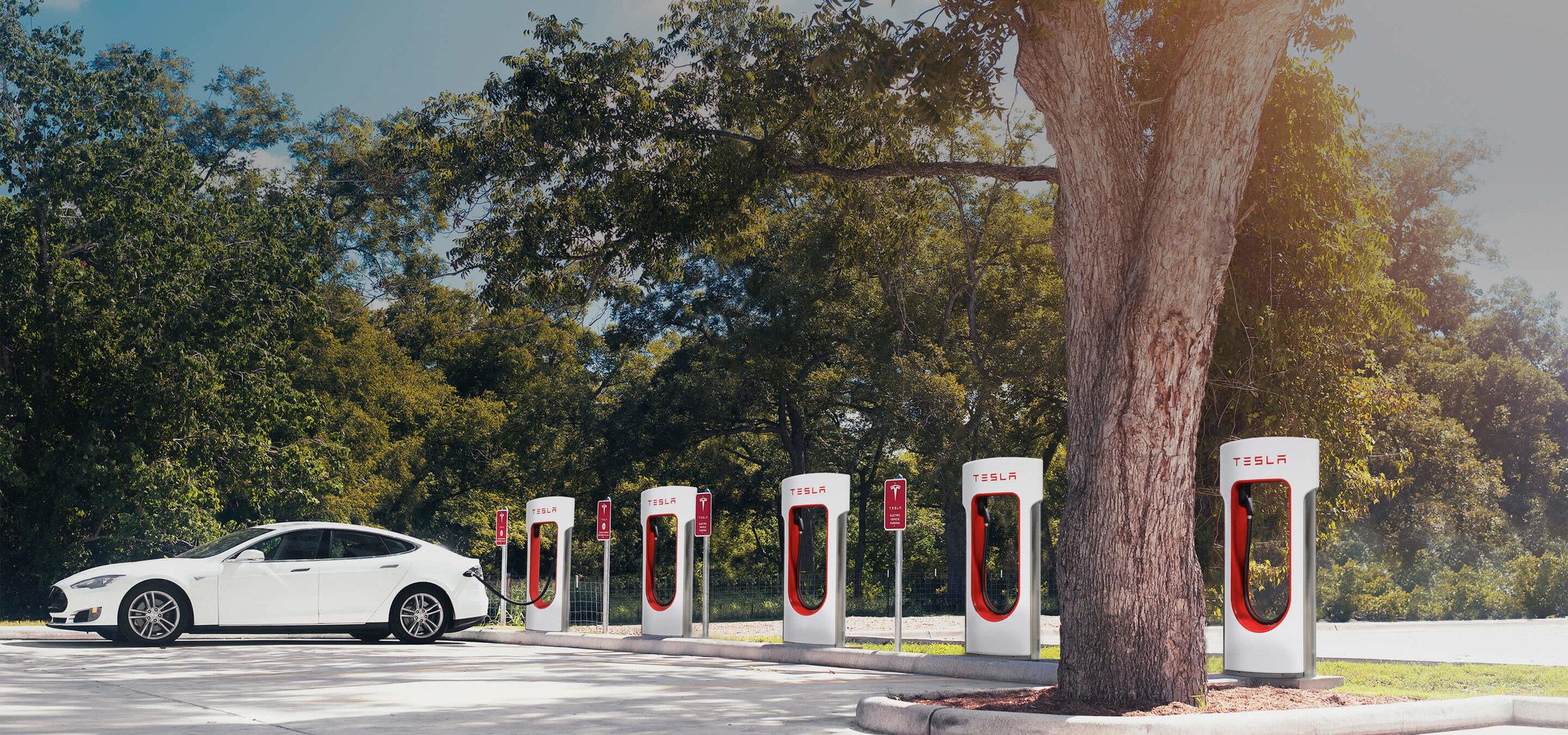 | Source: Tesla | Tesla Model S charing at a Super Charger