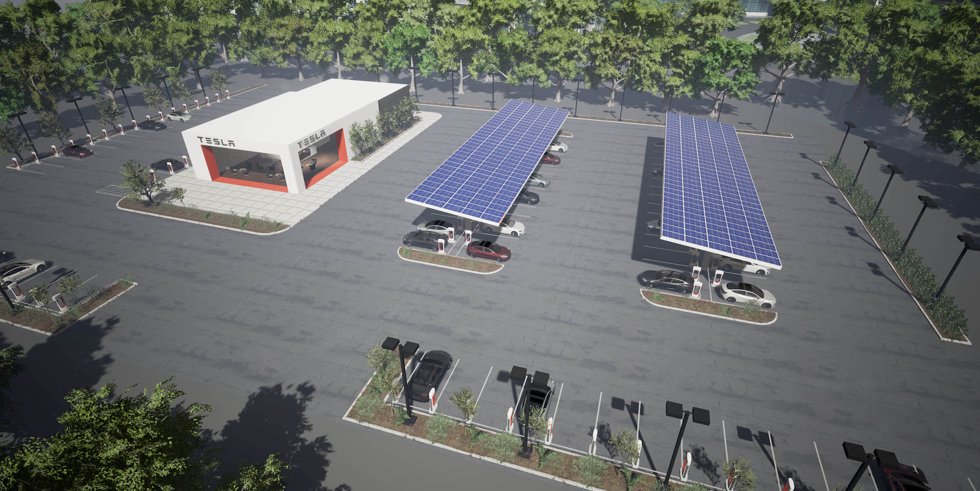 | Source: Tesla | A future model of a Supercharger location that will hold dozens of Tesla Vehicles