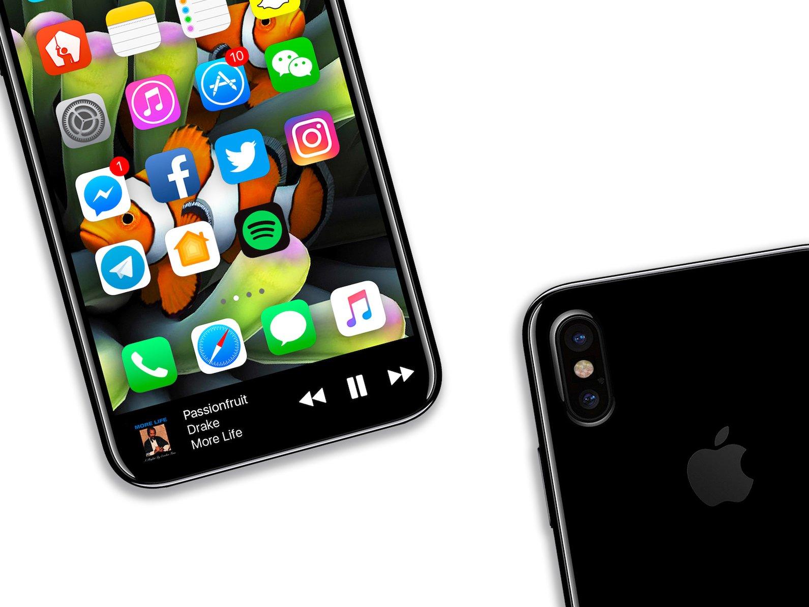   Source: Benjamin Geskin (@VenyaGeskin1)   Mock-Up of a bezel-less iPhone 8.