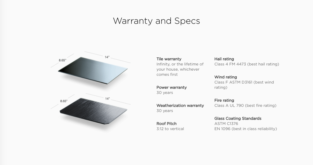 | Source: Tesla | Specific Warranty Information for Solar City Tiles