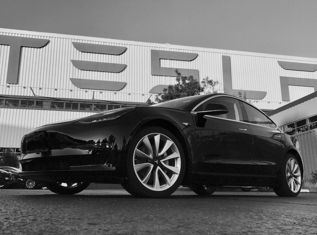 | Source: Elon Musk Twitter (@elonmusk) | One of the first two photos of the first production Model 3 outside Tesla's factory last Saturday.