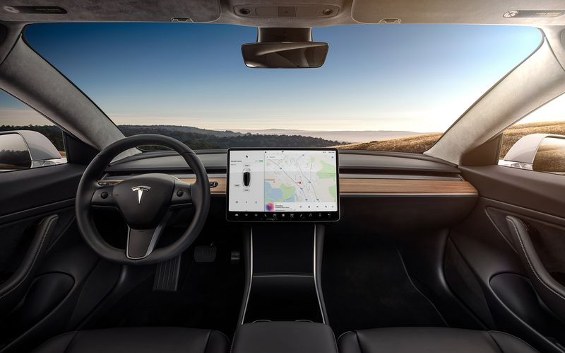 | Source: Tesla | A closer look at the Model 3's interior.
