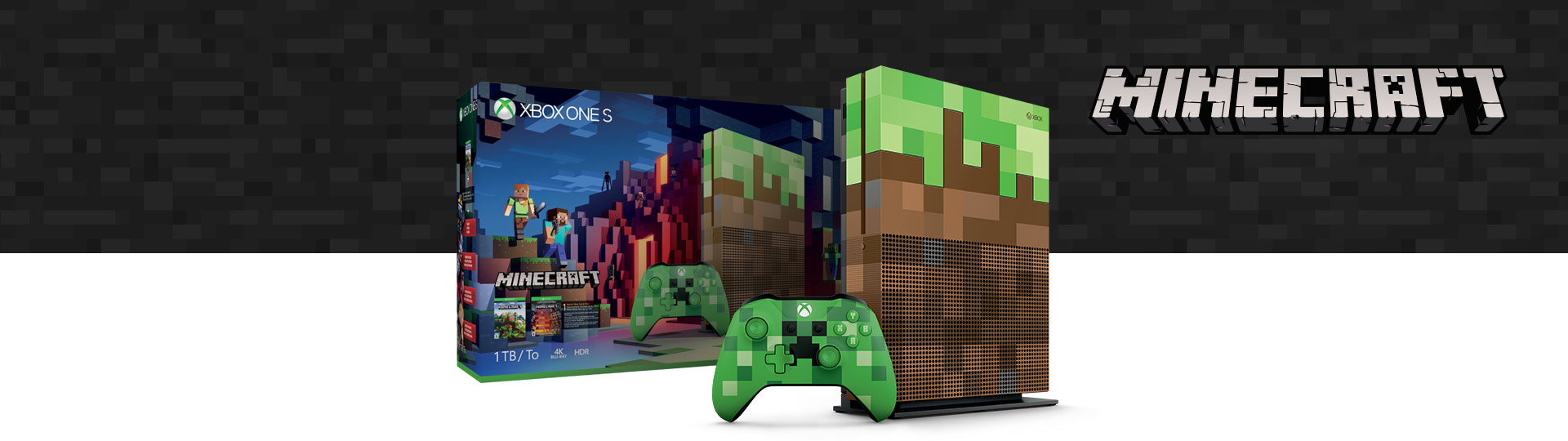 | Source: Microsoft | The new Limited Edition Xbox One S 1TB console and Minecraft Creeper controller bundle available October 3, 2017 for $399. |