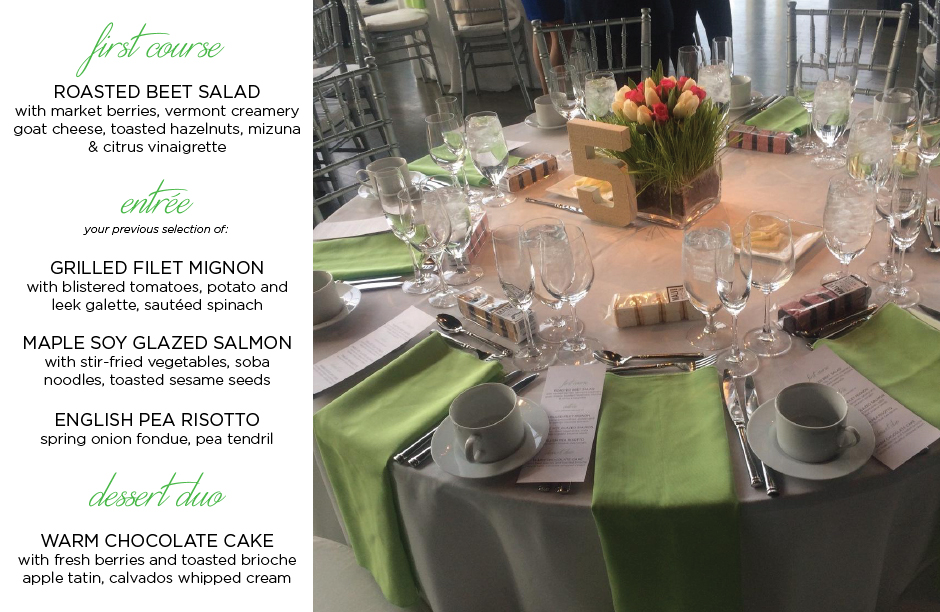 Banquet table & custom menu