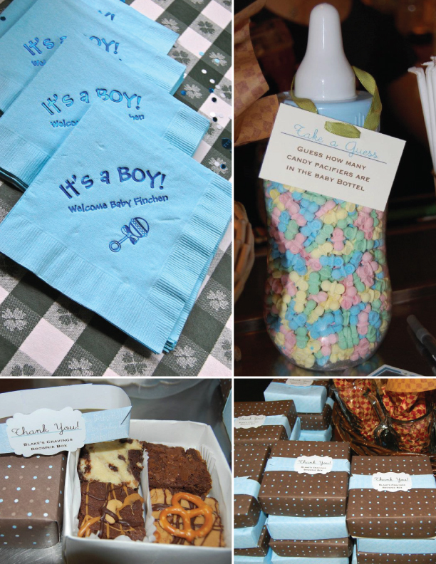 Custom baby shower decor, games, & gift boxes