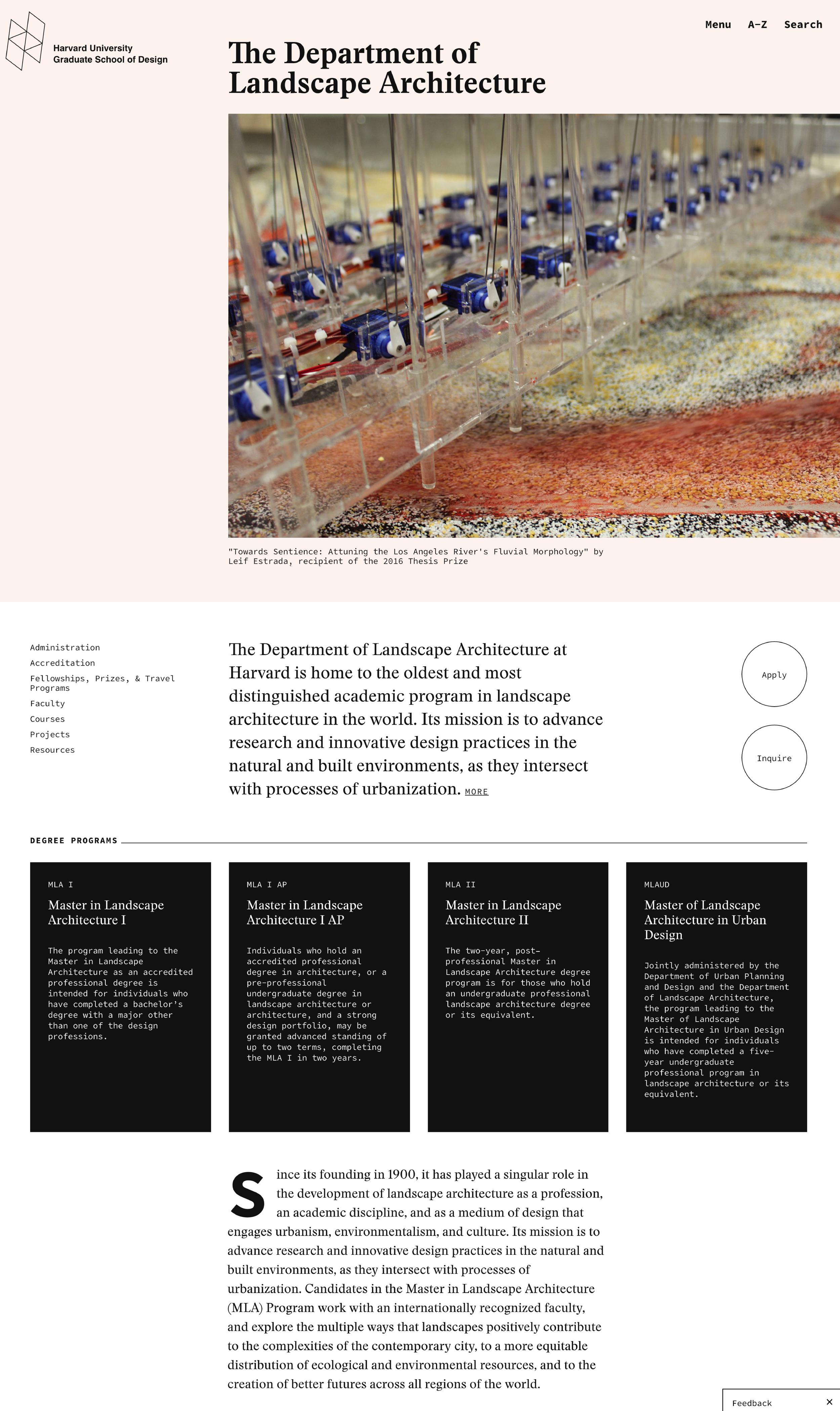 Harvard Graduate School of Design - Landscape Architecture