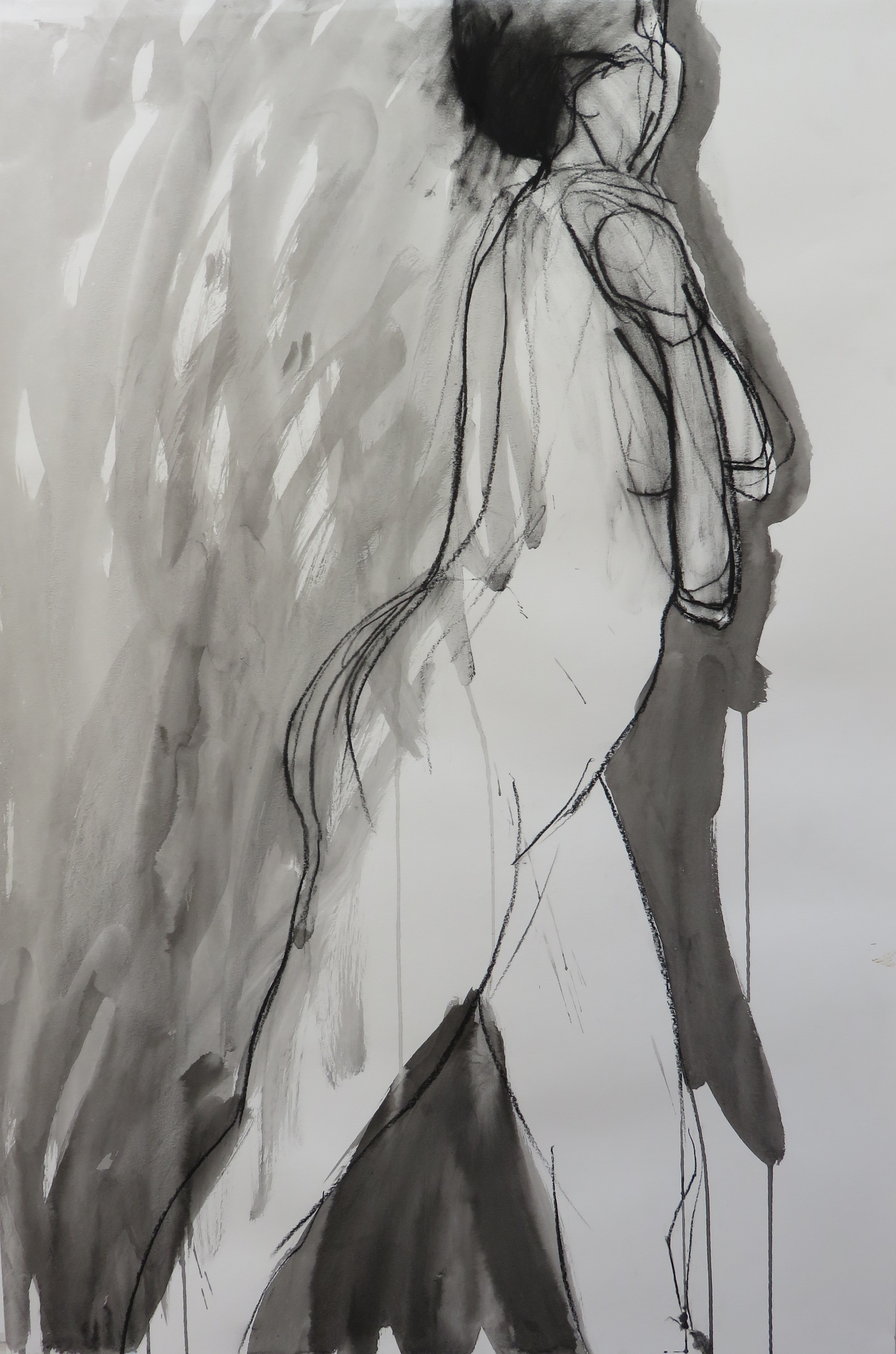 """Hiding, 36"""" x 24"""" ink and charcoal on paper"""