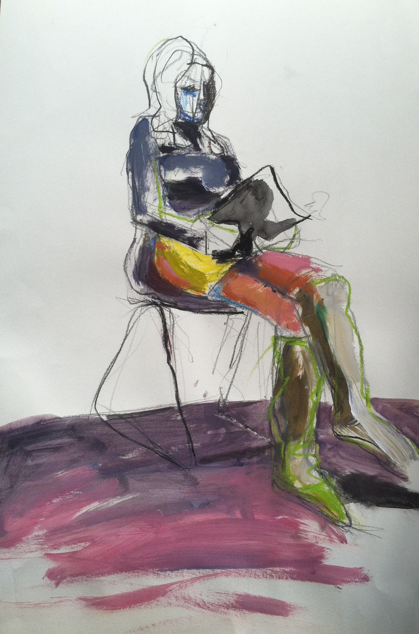 """Hot green boots, 18"""" x 12"""" acrylic and mixed media on paper"""