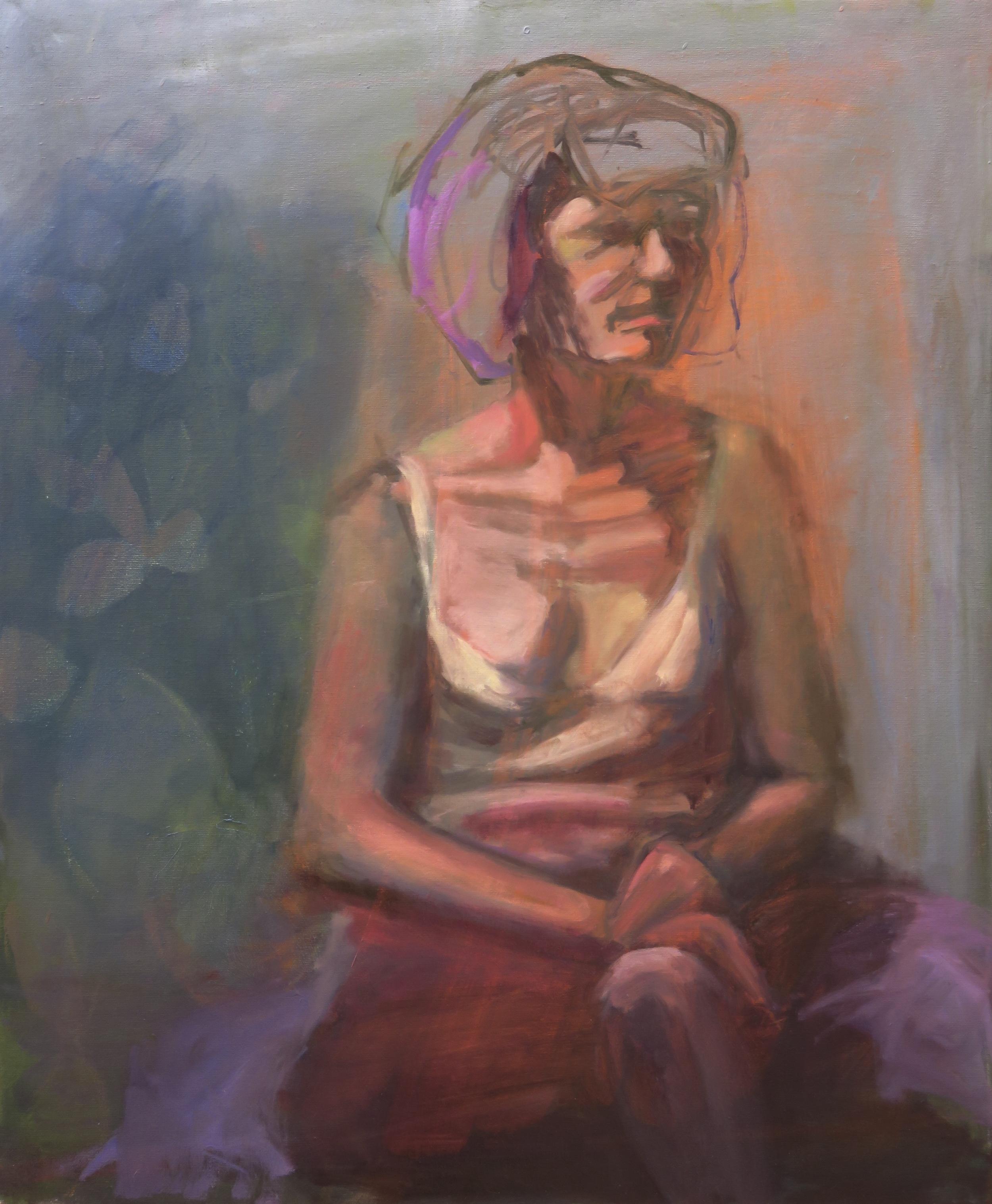 "Glowing in fuchsia, 24"" x 20"" oil on canvas"
