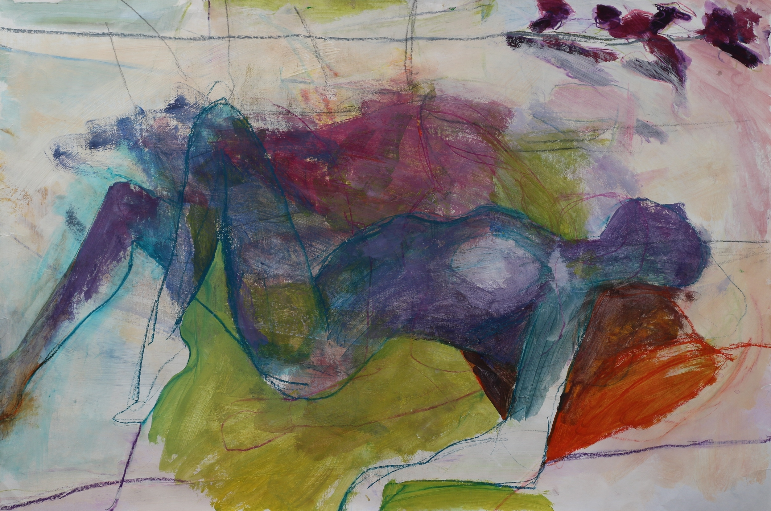 """Repose in layers, 24"""" x 36"""" acrylic and mixed media on paper"""