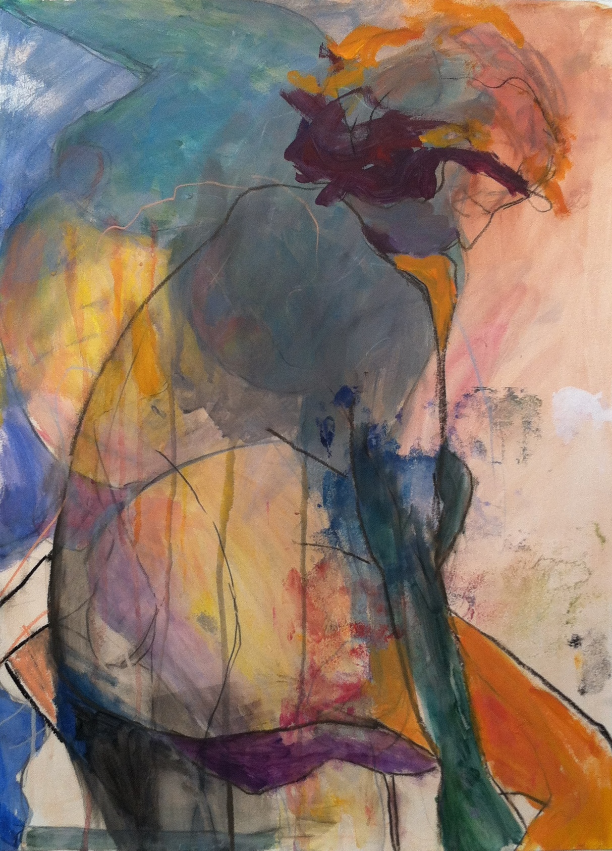 """Orange thoughts, 30"""" x 22"""" acrylic and mixed media on paper"""