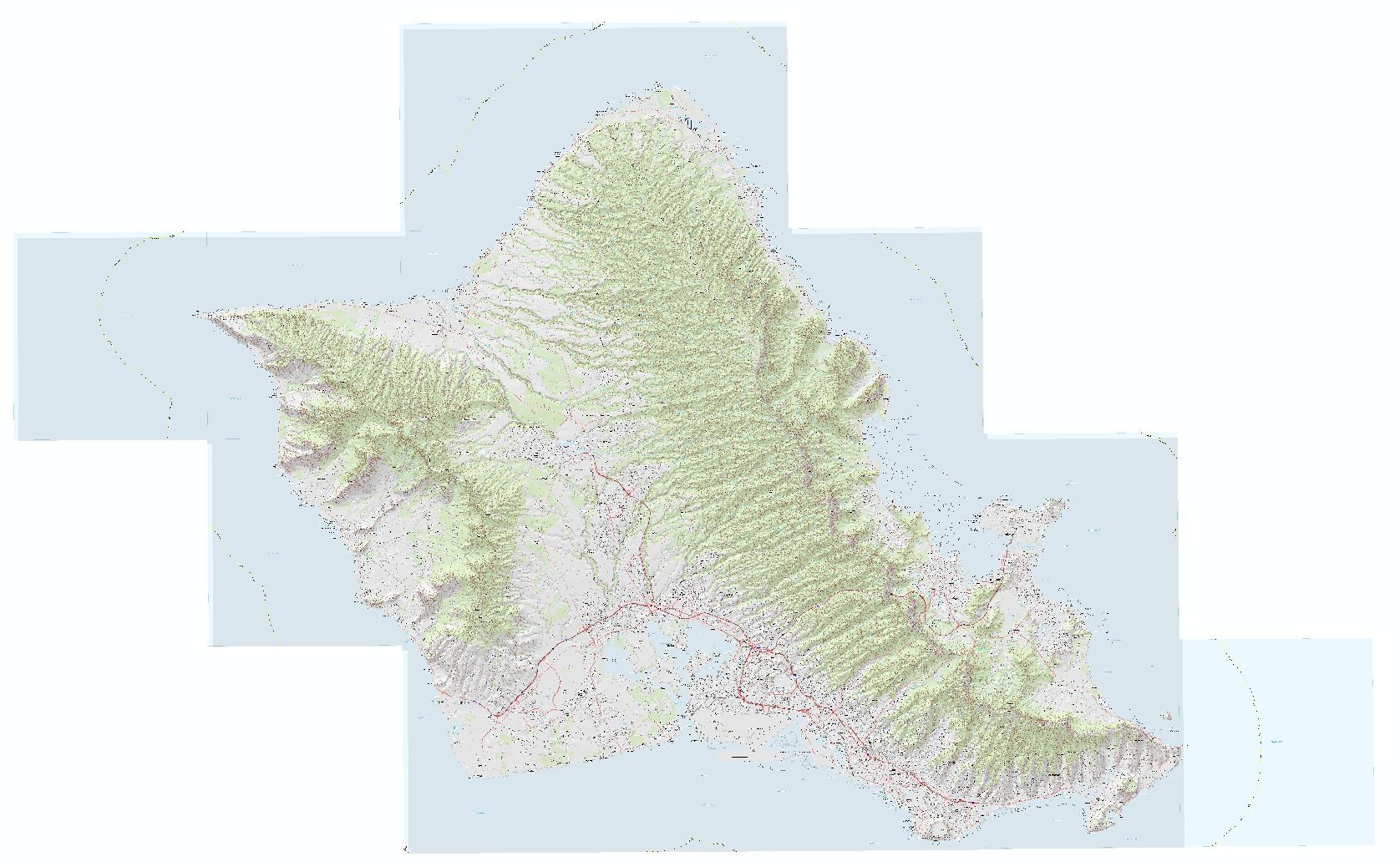 Raster catalog of 17 topo quads for Oahu.