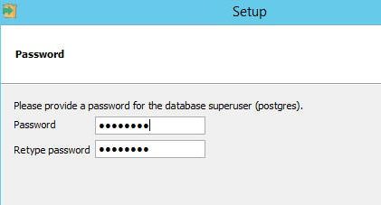 Enter a password for superuser postgres. You can use the default user/password of postgres/postgres for now and change it later.