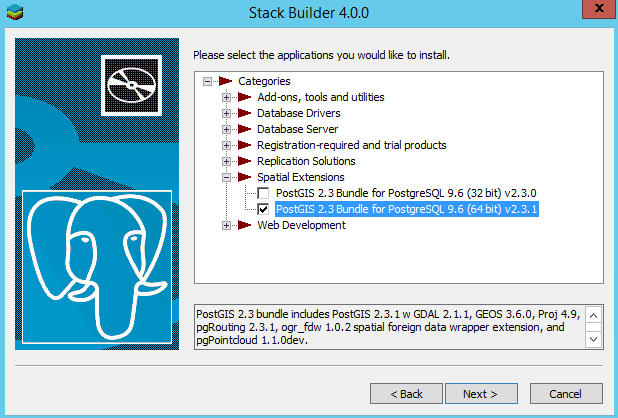 Expand Spatial Extensions and check the appropriate PostGIS bundle to download and install