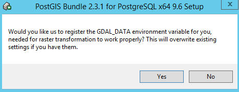 Register GDAL_DATA environment – say yes. This will automatically add GDAL_DATA environment variable putting this path in for you. If you use GDAL already chances are you already have this environment variable set and you may not want to overwrite it.