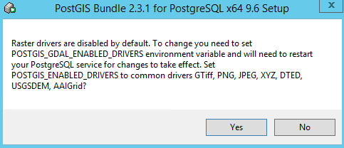 Enable Raster Drivers (default option is off) – say yes