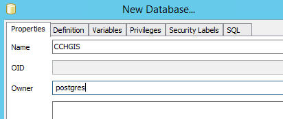 Properties tab: type in a name for your database (e.g CCHGIS) and the owner (e.g. postgres)