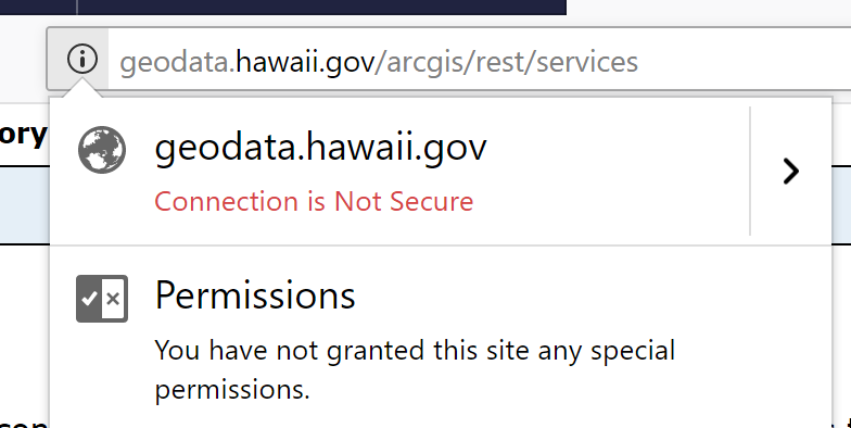 Hawaii Statewide GIS ArcGIS REST service is unsecured (http)