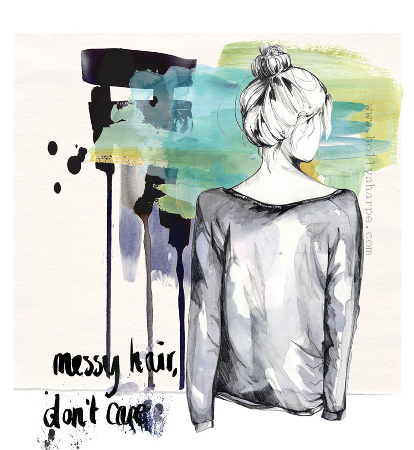Messy hair, fashion illustration by Holly Sharpe