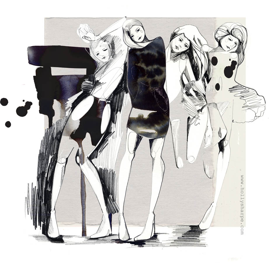 Dancers/ fashion illustration by Holly Sharpe