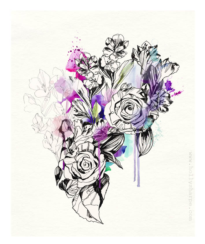 Inky roses illustration by Holly Sharpe