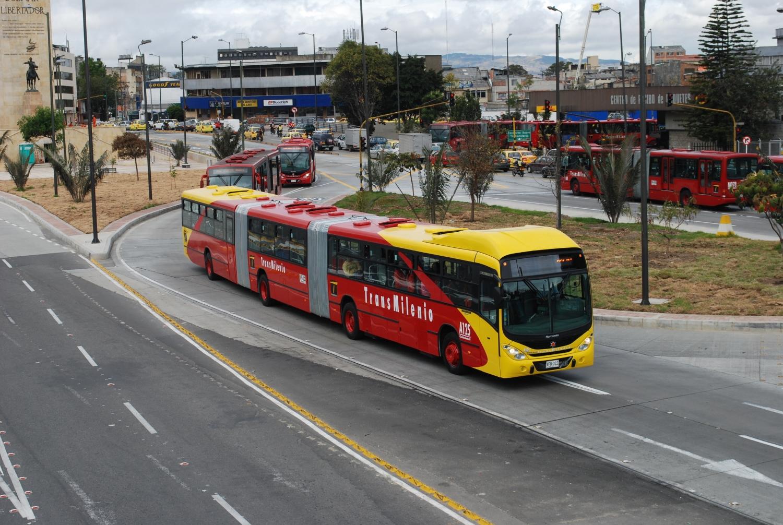 Bogota's TransMilenio: Extra high capacity (bi-articulated) bus