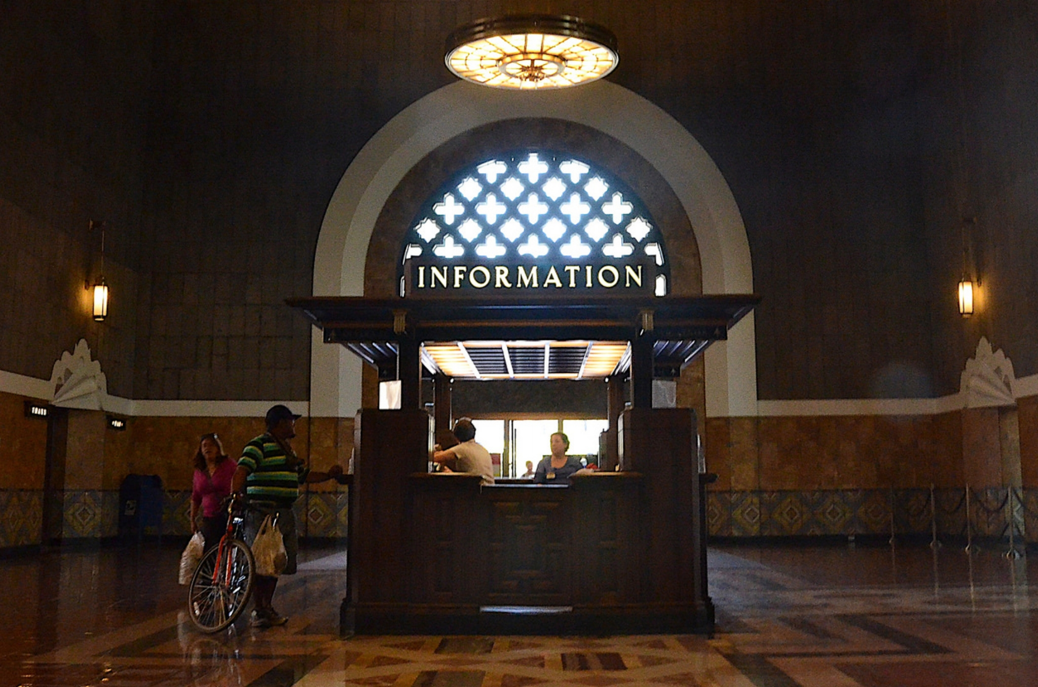 Help & documentation:  A staffed information booth at Los Angeles' Union Station. Photo credit: Russell Mondy, Flickr