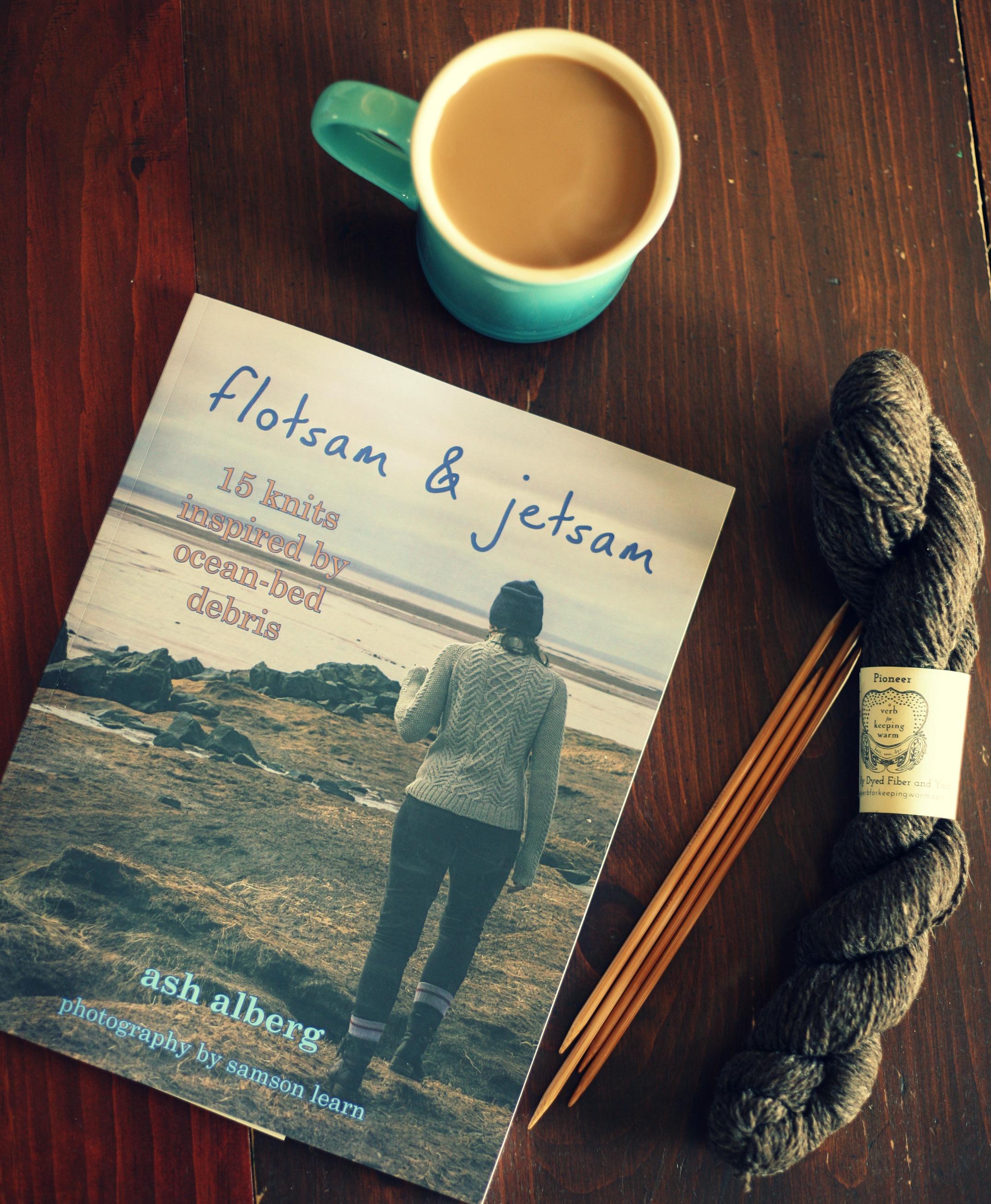 hot coffee, knitting book and new yarn