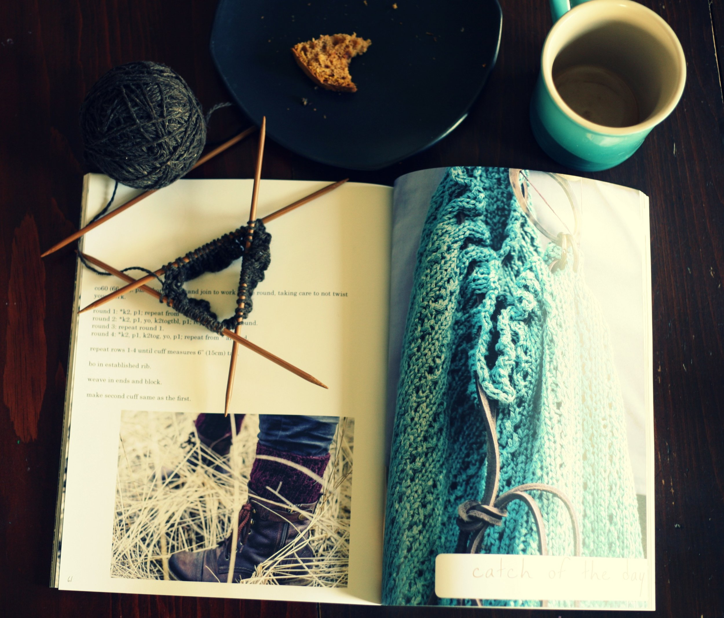 The start of my Dulse boot cuffs and the end of my coffee