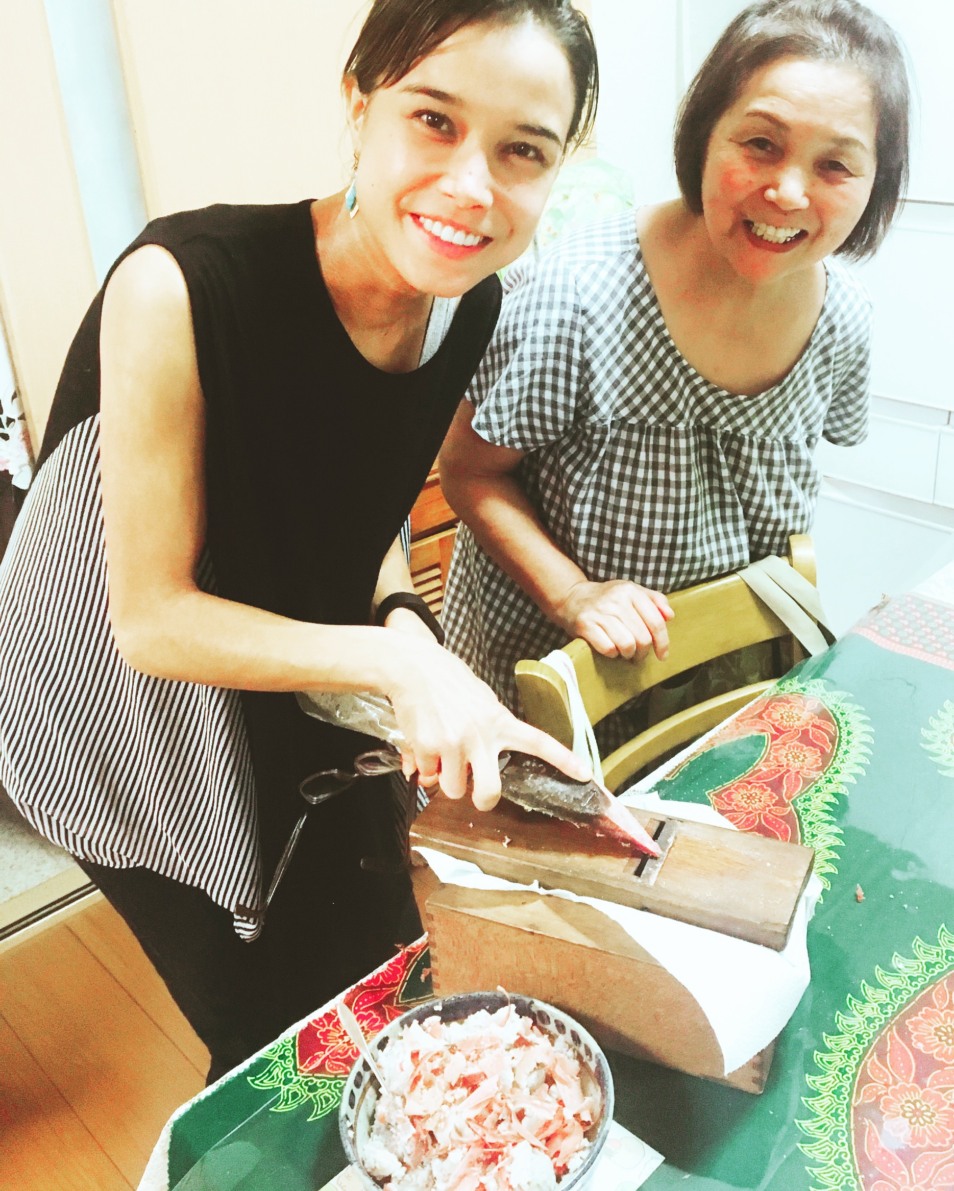 """With my Kuzuha mother, who taught me how to make かつおうぶし or """"dried fish flakes"""" in the traditional fashion. In fact, most Japanese people do not know how it was originally made, because we can purchase it in small, convenient packages at all supermarkets."""