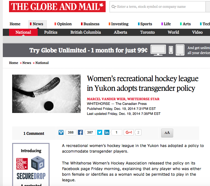 Read about the Whitehorse Women's Hockey Association's precedent setting transgender inclusive policy in the Globe and Mail (Dec. 2014)