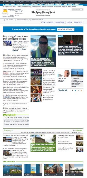 Sydney Morning Herald Homepage