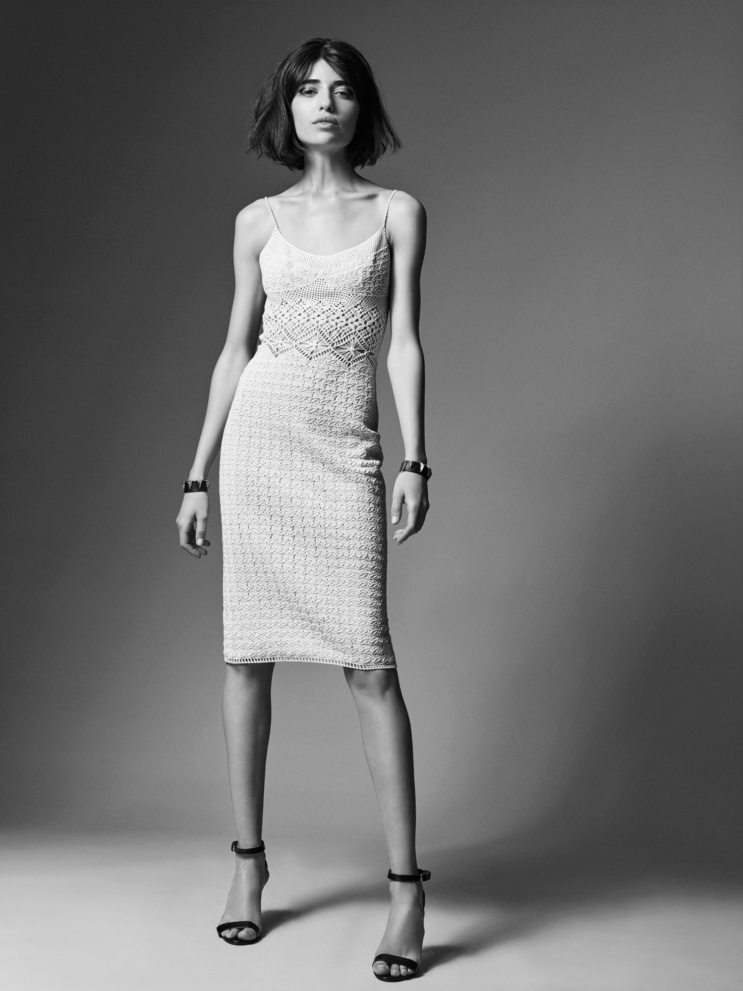 ivory cotton macramé spaghetti-strap dress