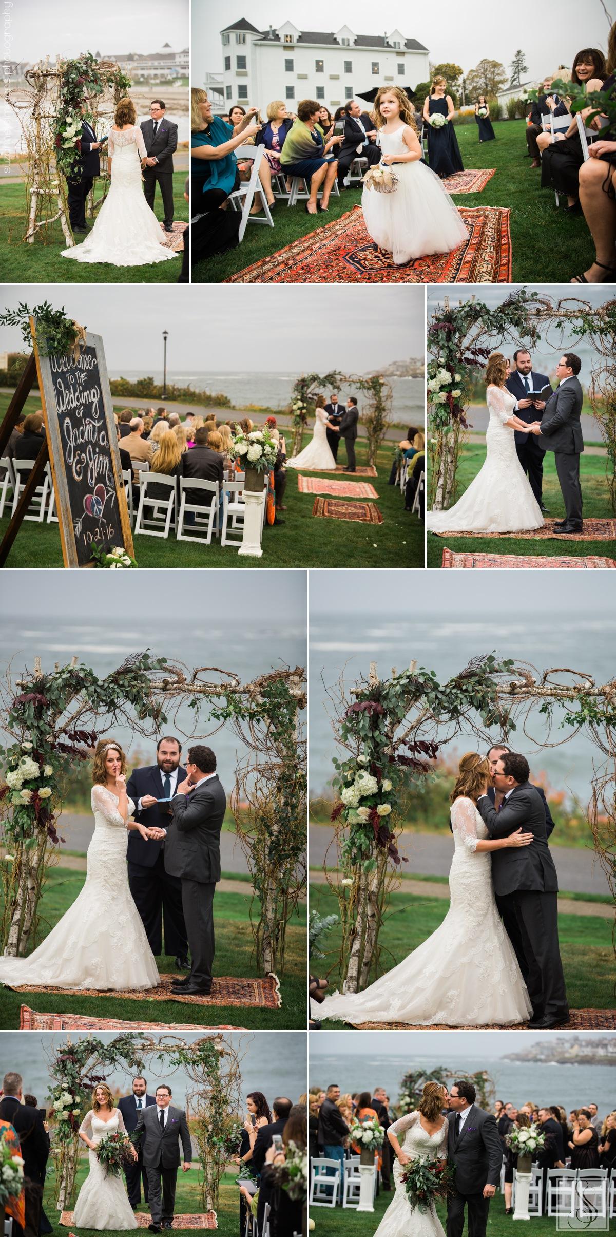 Rainy day wedding in York, Maine