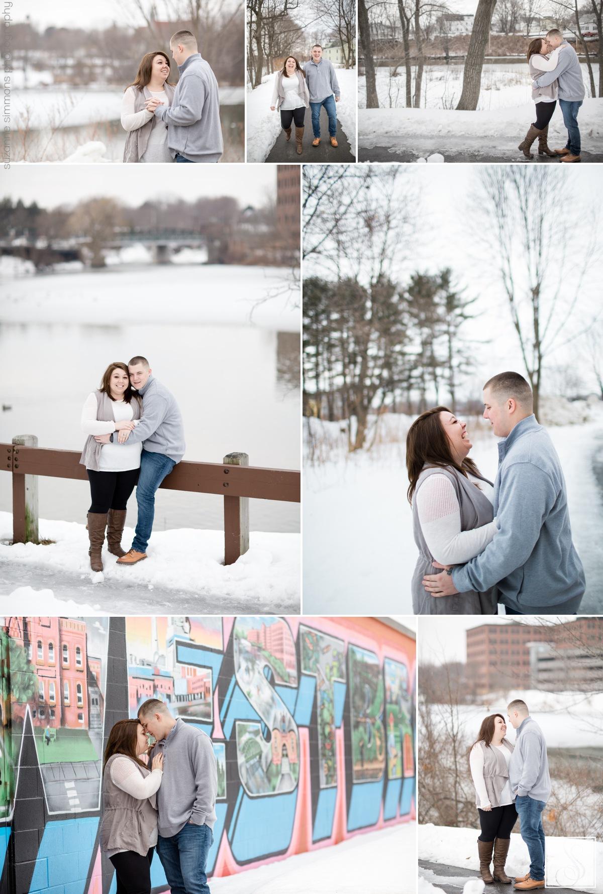 Westbrook Maine winter engagement portraits