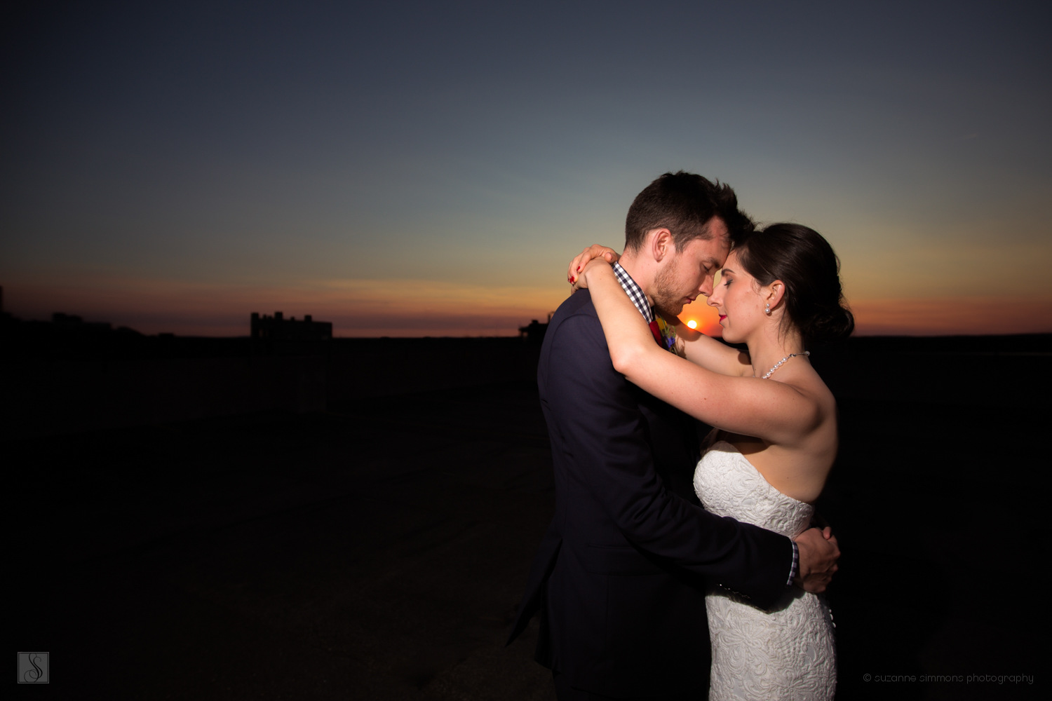 Sunset wedding portraits in Portland, Maine