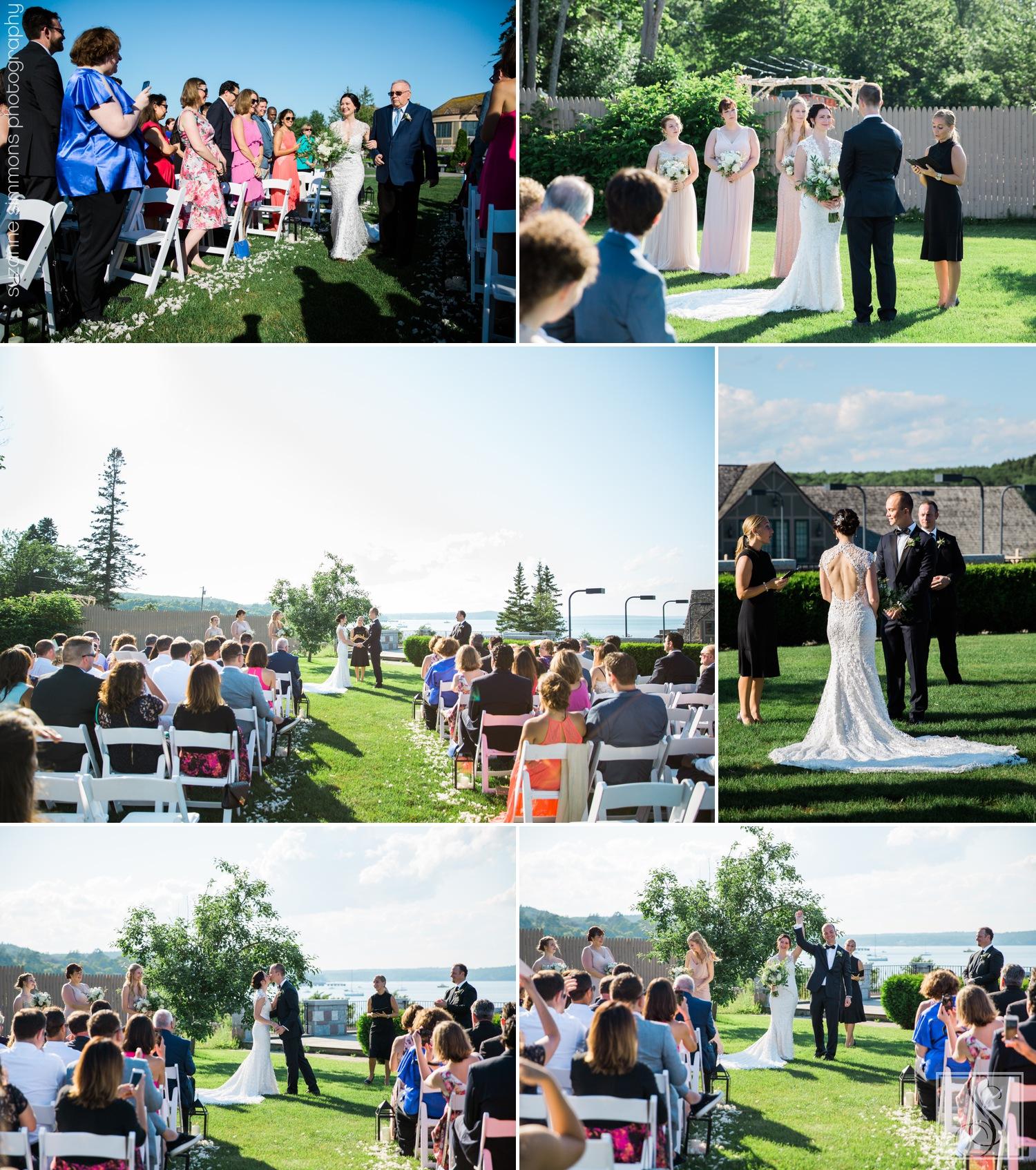 Wedding ceremony at the Bar Harbor Club in Bar Harbor, Maine