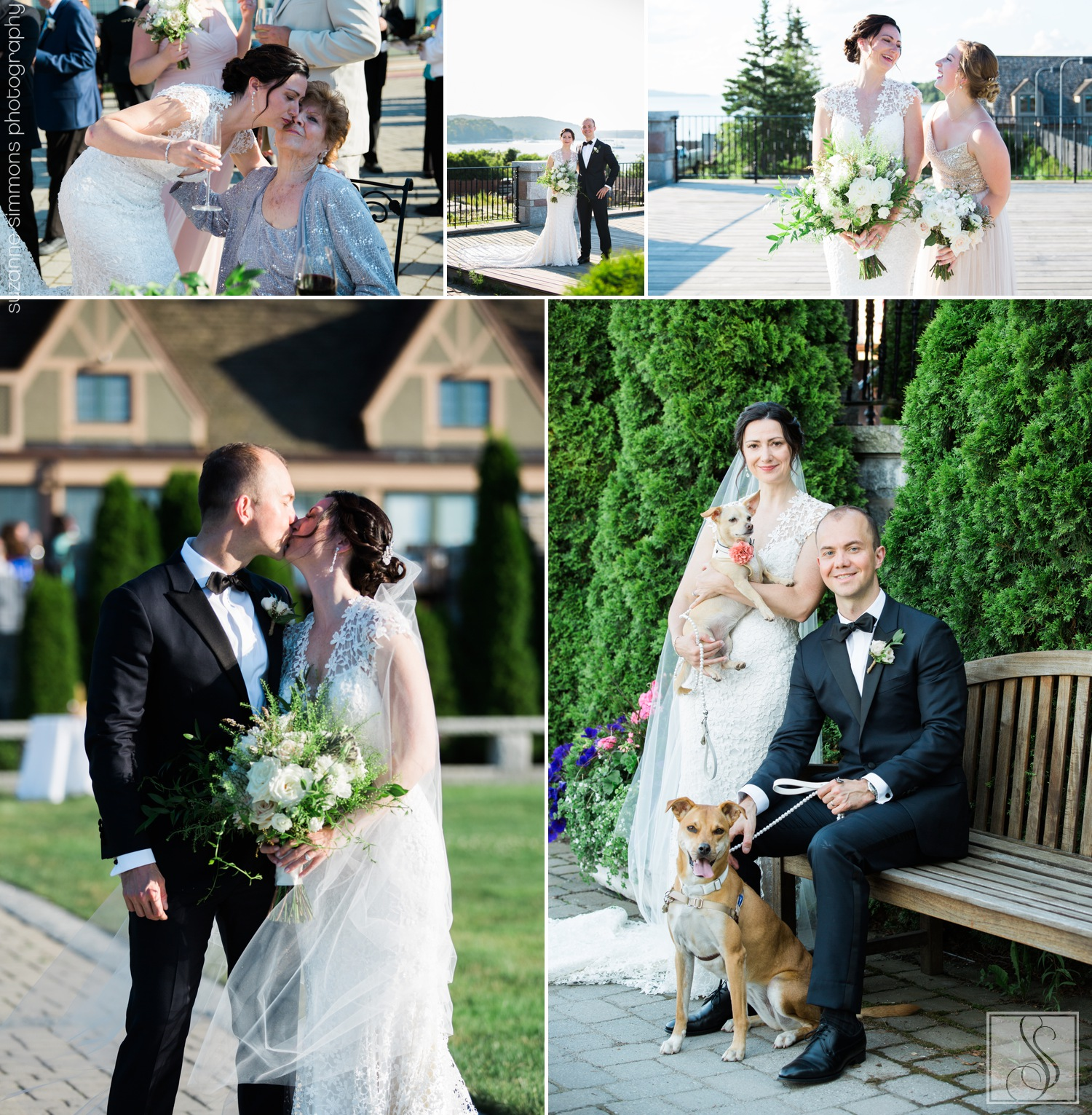 Wedding portraits at the Bar Harbor Club in Maine