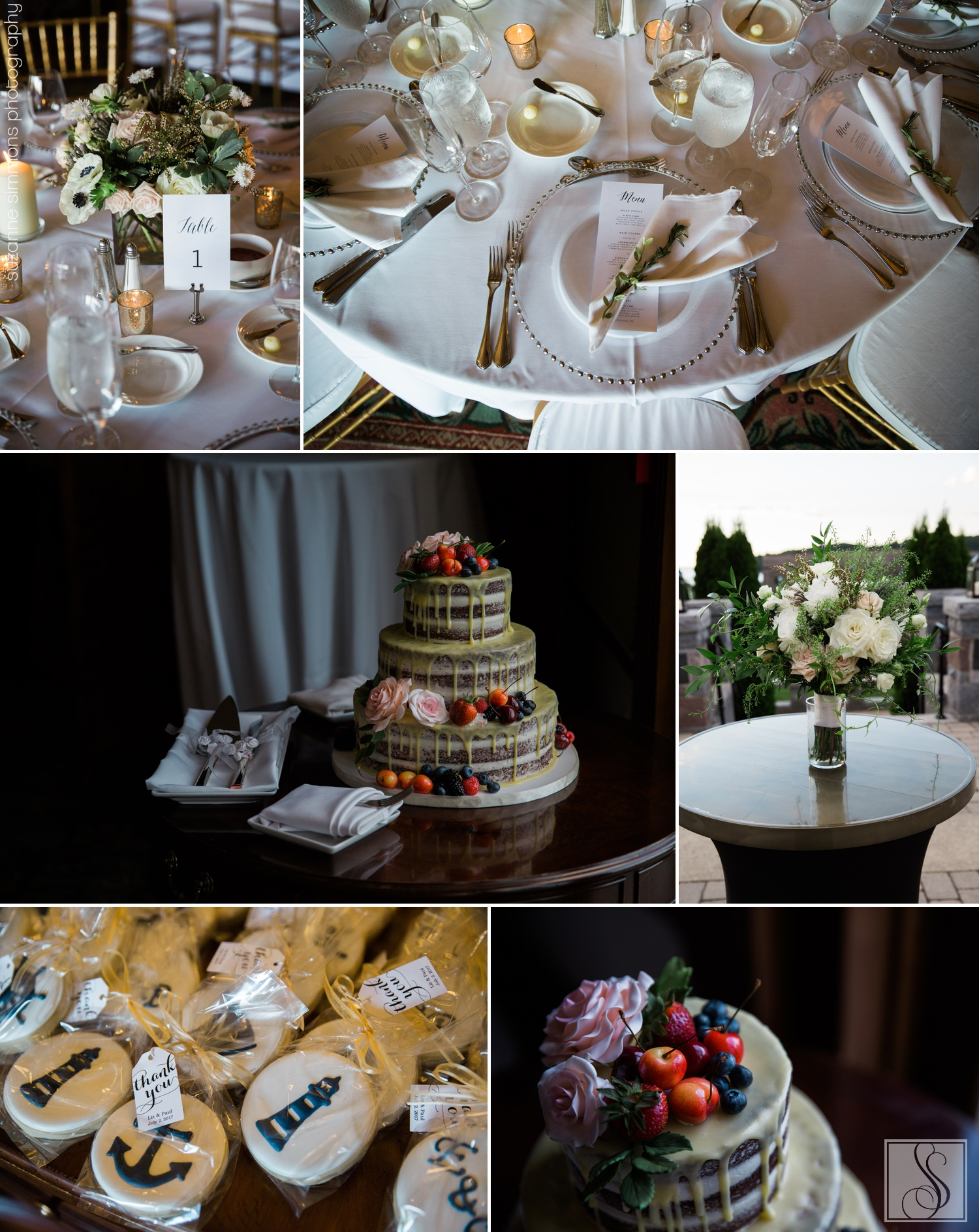 Wedding details at the Bar Harbor Club in Bar Harbor, Maine