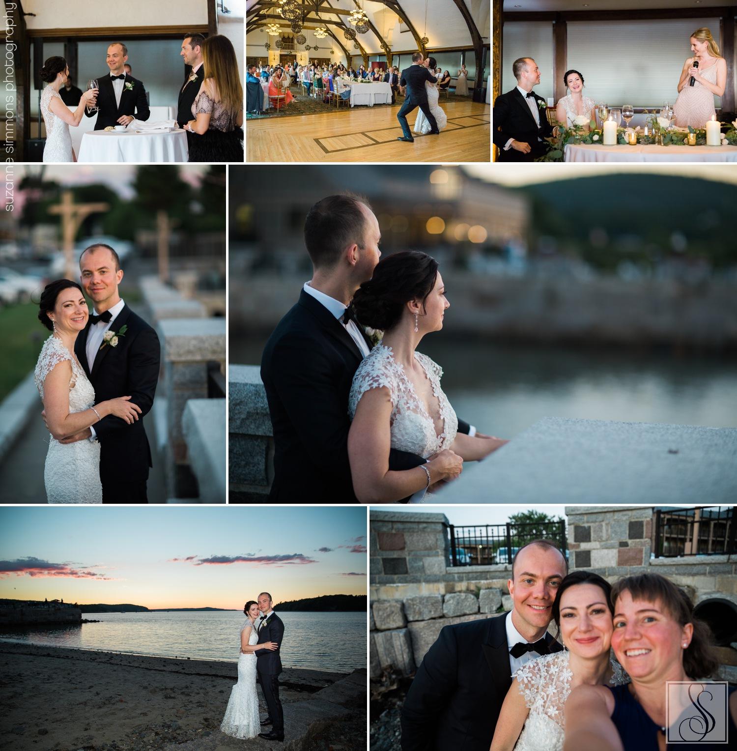 Sunset wedding portraits at the Bar Harbor Club