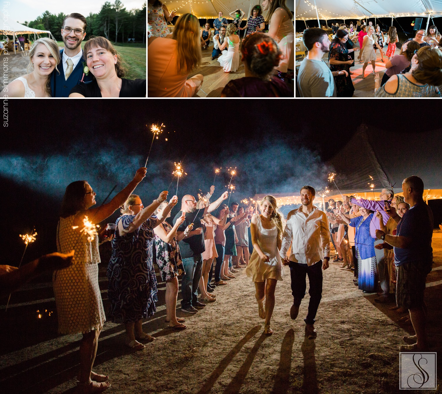 Sparkler Wedding in Buxton, Maine