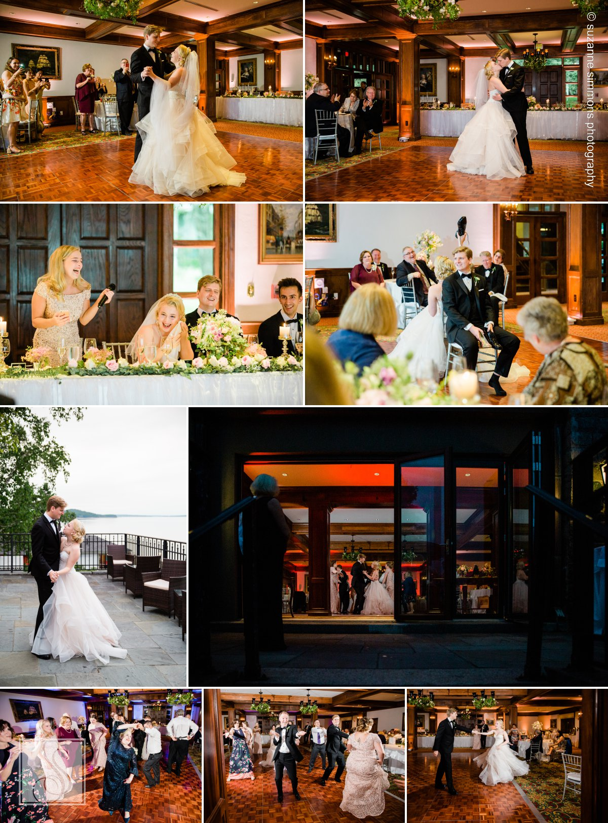 Evening wedding reception at Bar Harbor Regency
