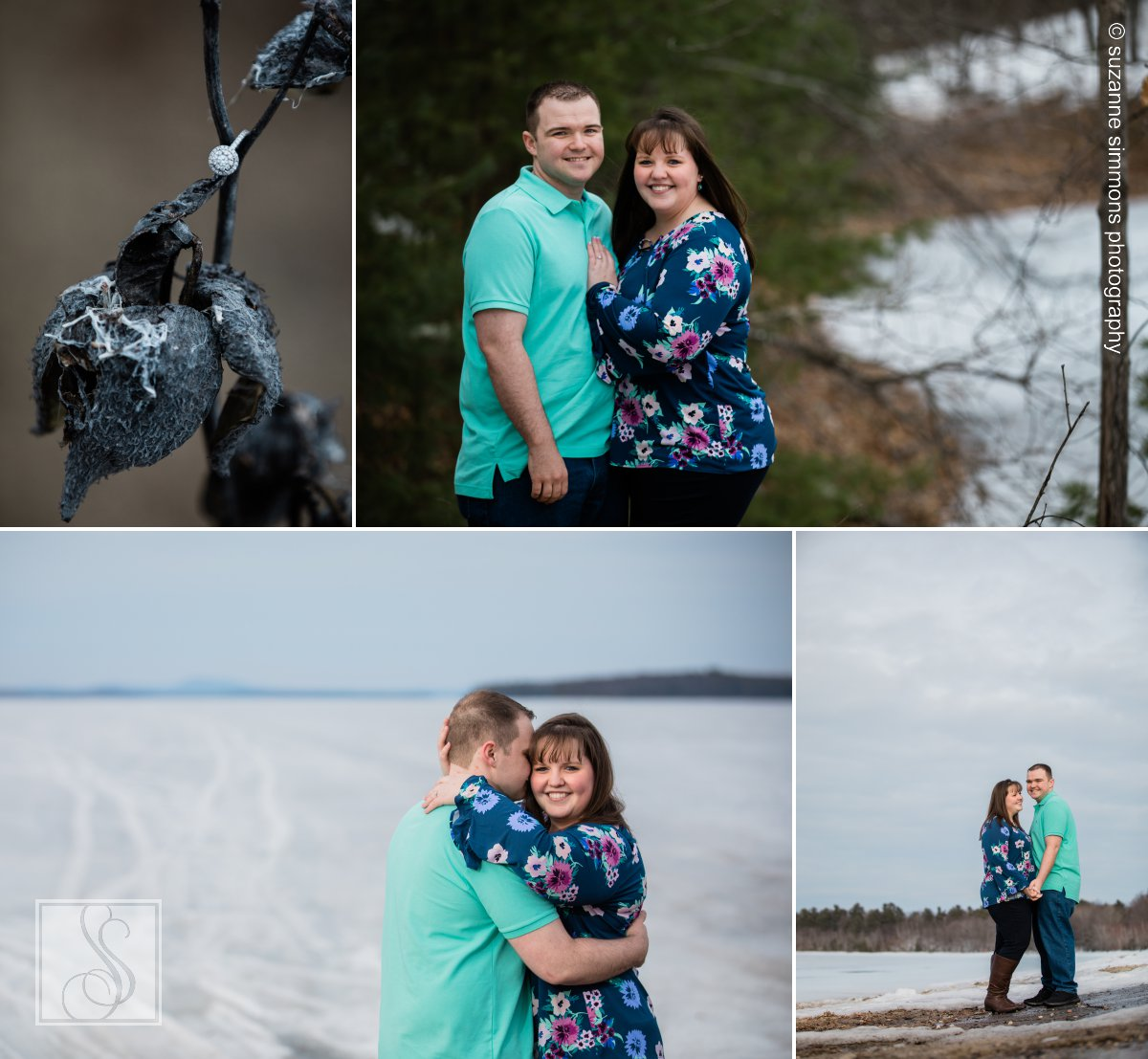 Lexi and Chris's winter engagement session by Sebago Lake in Standish, Maine